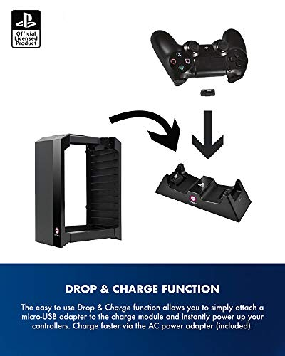 Numskull Official Sony Playstation 4 Game Storage Tower and Twin DualShock Controller Charger Accessory, Playstation Games Stand and Dual Controller Dock, Stores 10 PS4 Games or Blu Ray Disks 3