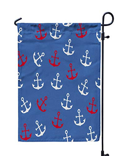 Jacrane Welcome Small Garden Flag 12X18 Inches Anchor Pattern Double-Sided Seasonal House Yard Flags Decorative]()