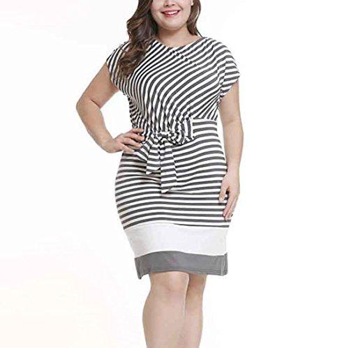 Flurries Women Dress, Women's Striped Print Round Neck Bow Stitching Dress (2XL, Black) by Flurries