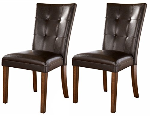 Ashley Furniture Signature Design - Lacey Dining Side Chair - Set of 2 - Medium Brown (Faux Leather Dining Table)