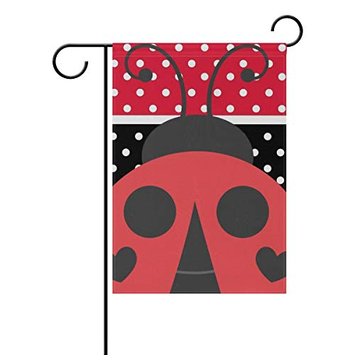 Mesllings Double Sided Family Flag Red and Black Stripe Speckle Ladybirds Polyester Outdoor Flag Home Party Decro Garden Flag - 28 x 40 Inch