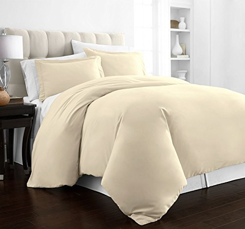 Beckham Hotel Collection Luxury Soft Brushed 2100 Series Microfiber Duvet Cover Set - Hypoallergenic - Full/Queen - Cream (Full Duvet Cover Cream)