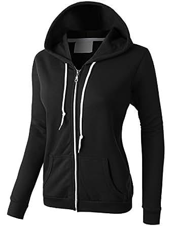 LE3NO Womens Comfortable Zip Up Fleece Hoodie Jacket at