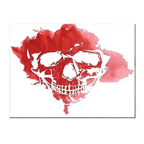 (Paintings-24Lx20W-Horror House Skull Head in Watercolor Brush Stroke Gothic Skeleton Splash Voodoo Paint Coral.Self-Adhesive backplane/Detachable Modern Decorative Art.)