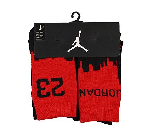 Jordan Youth Skyline 2-Pack High Crew Socks sz M Medium (3Y-5Y) Red Black by Jordan