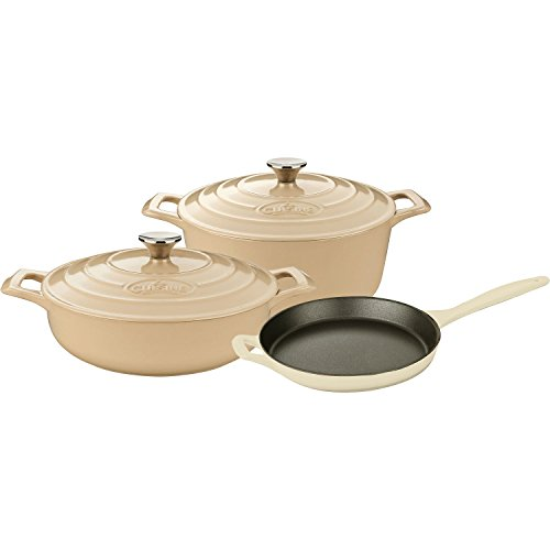 La-Cuisine-LC-2685MB-5-Piece-Pro-Enameled-Cast-Iron-Round-Casserole-Cookware-Set-Cream