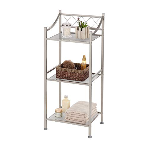 Home Zone Bathroom Storage Shelf with 3-Tiers and Mesh Shelving | Restroom Space Saver with Satin Nickel Finish (Classic ()