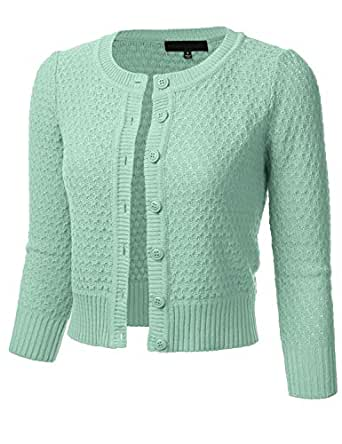 FLORIA Womens Button Down 3/4 Sleeve Crew Neck Cotton Knit Cropped Cardigan Sweater Aqua S