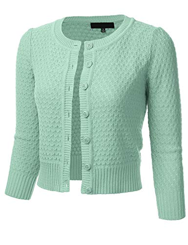 FLORIA Women's Button Down 3/4 Sleeve Crew Neck Cotton Knit Cropped Cardigan Sweater Aqua S