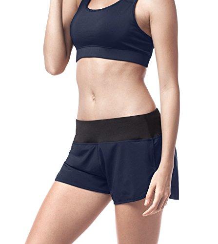 LAPASA Women's Workout Running Shorts with Liner Light Weight Back Zip Pocket L13 (L, Navy)