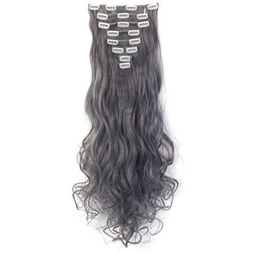 LHFLIVE Womens 18 Clips 8pcs Full Head Hair Extensions 24 Inch Long Curly Granny Gray Hairpiece