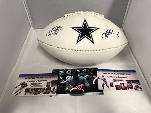 Emmitt Smith Memorabilia (Emmitt Smith Troy Aikman Dual Autographed Signed Dallas Cowboys Logo Football GTSM Player Holograms & COA Cards)