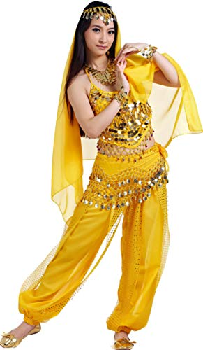 Adult Genie Outfit Bollywood Costume Accessories Belly Dance Top and Pants Costumes for Women Yellow]()