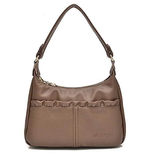 (Bagtopia Women's Double Zipper Soft Hobo Style PU Leather Purse Shoulder Bags Small Cross-body Handbags(Brown))