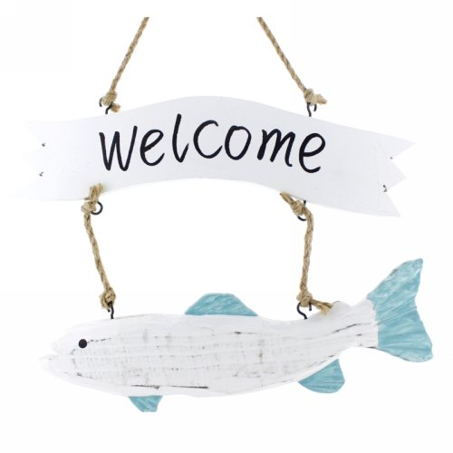 Handmade-Home-Decor-Marine-Stylenauticalmediterranean-Wood-Doorgarden-Fish-Welcome-Sign