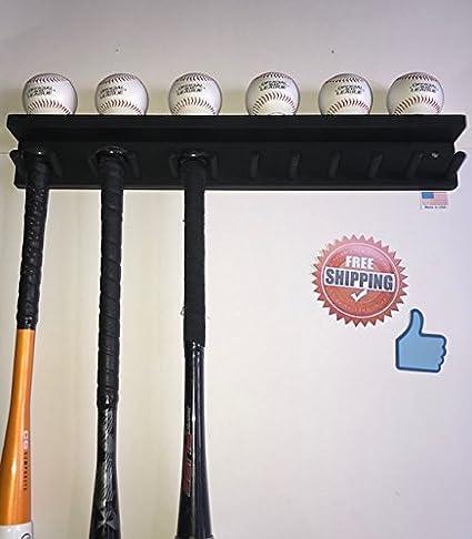 Amazon.com: Madera bate de béisbol bola de rack titular 6 ...
