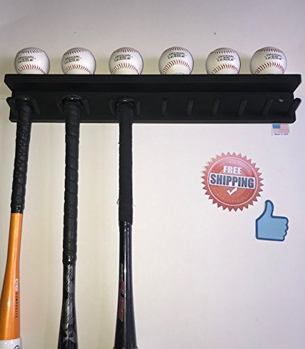 Baseball Bat Rack Ball Holder Display 11 Bats 6 Balls Black Softball Heavy Duty Rack for Storage and Organization (hardware included)