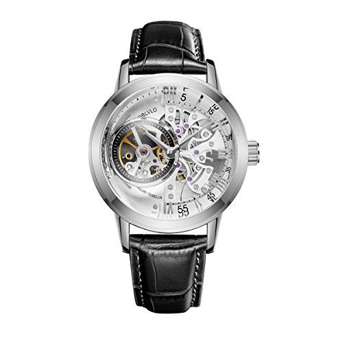 5800 Leather (OBLVLO Casual Watches Stainless Steel Mens Watches Genuine Leather Strap Skeleton Watches OBL8238)