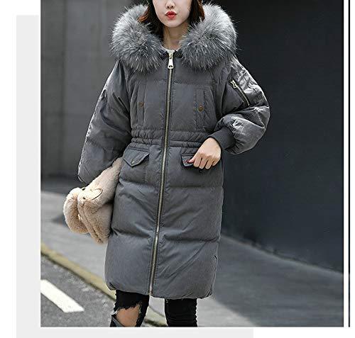 Lungo Capello Cappuccio Di Con Collare Moda Inverno Signore Grandi Grande Dimensioni Lqyrf Piumino Gray ygAUKFF