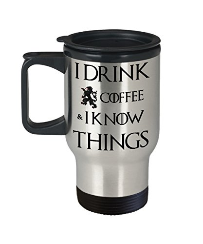 I Drink Coffee & I Know Things - Tyrion Quote - Stainless Steel 14 oz Silver Tumbler