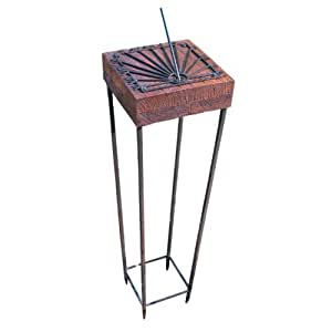 Rome 2182 Mango Wood Horizontal Sundial with Wrought Iron Steel Base, 39-Inch Overall Height by 10-Inch Diameter