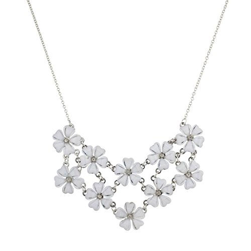 Lux Accessories Silvertone and White Flower Floral Mini Statement Necklace