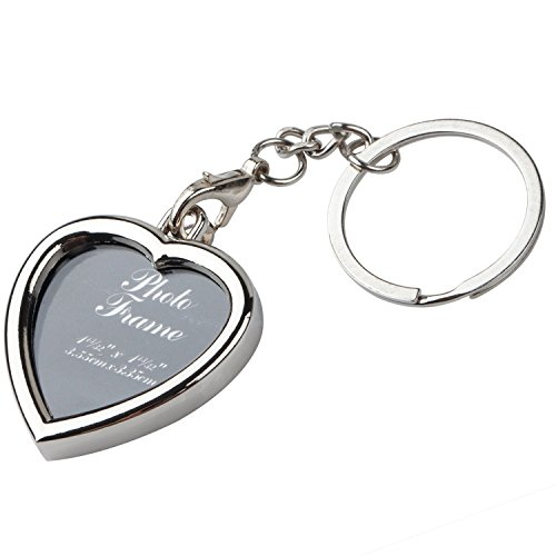 (TRIXES Miniature Silver Heart Photo Frame Detachable Keychain Split Ring Personalised Gift for Her)