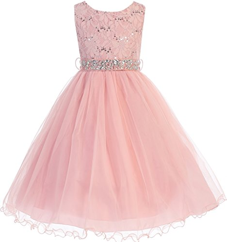 BNY Corner Big Girl Glitters Sequined Bodice Double Layer Tulle Rhinestones Sash Flower Girl Dress Blush 14 JK3670 - Sequined Bodice
