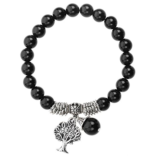 Jovivi 8MM Natural Black Agate Onyx Gemstone Healing Point Tree of Life Lucky Charm Stretch Bracelet ()