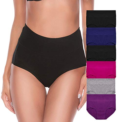 - Envlon Womens Cotton Underwear, High Waist Soft Breathable Stretchy Ladies Panties Brief Multipack