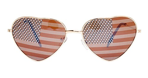 Gravity Shades USA Heart Shaped Aviator Sunglasses, Gold Frame ()