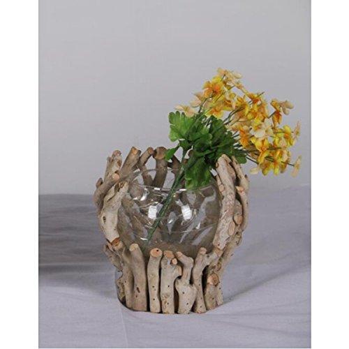 Wildholz mit Glaseinsatz Vase Glasvase Holz Windlicht Kerzenhalter Kerzenständer Teelicht Teelichthalter