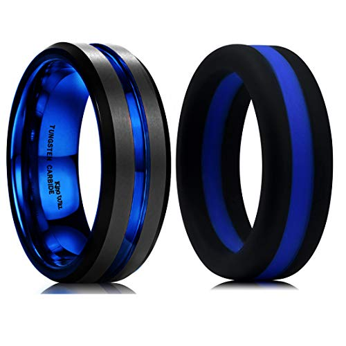 King Will Mens Tungsten Silicone Wedding Band Set Blue & Black Classic Style Replaceable and Comfort Fit - Tungsten Blue Ring Wedding