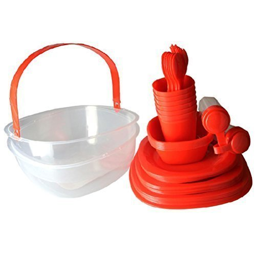 GMMH Red Picnic Camping Crockery Set 48 Pieces for Picknickset Basket 48 Pieces for 6 people Paradiseeinkauf