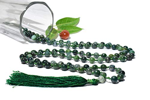 String Moss Agate Bead - Mala Knotted - Moss Agate String 108 Beads Size - 8 mm Natural Healing Reiki Crystal Stone