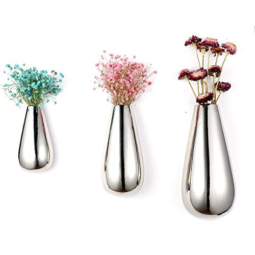 (3 PCS Silver Ceramic Wall Mounted, Hanging Decorative Flower Planter Vase Holder Display)