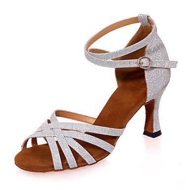 brillante talón negro de performanceblack directa purpurina de sparkling interior mujer de glitter baile Latina sandalias zapatos de práctica Misteriosa mecánico la p7Ran5xa1