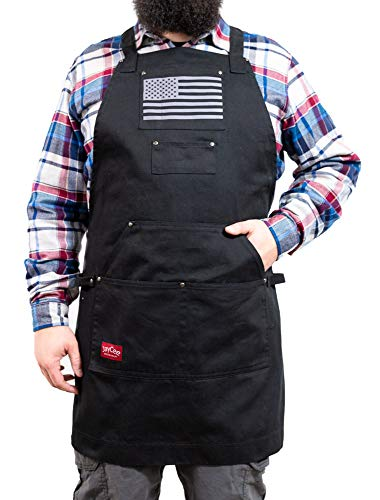JayCee's Perfect Apron for BBQ, Grill, Chef, Hobby and Workshop w/Gray and Black US Flag. 5 Pockets, Cross-Back Design, Quick-Release Buckle, 2 Towel Loops. 10 oz. Cotton. Aprons for Men and Women