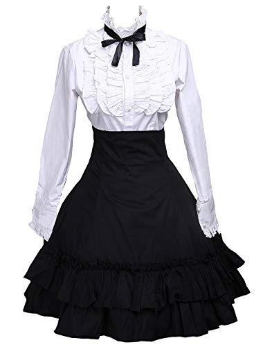 (Antaina Black Cotton Pleated Lolita Skirt and Victorian Bow Tie Blouse,XXL)