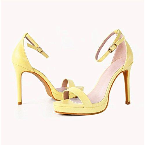 Vivioo Scarpe Col Tacco Alto Sandali Con Tacco Alto Impermeabile Sandali Con Tacco Alto Piattaforma Piccolo Cantiere Parola Grande Fibbia Bene Con Scarpe Da Donna Giallo