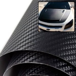 "TCBunny CFV1987101 0.15mm Thickness Black 3D Carbon Fiber Hood Roof Trunk Vinyl Film Wrap-60"" x 60"" (5"