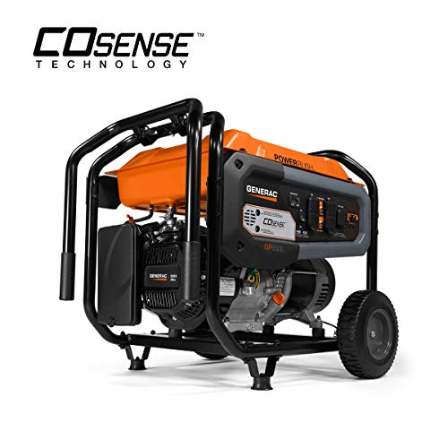 Generac 7680 GP6500 Portable Generator, Orange, Black