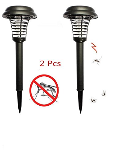 A-SZCXTOP 2 Pack Solar Powered Night Lamp + Mosquito Insect Killer Lamp Bug Zapper LED Solar Mosquito Trap Lamp for Patio ,Outdoor ,Garden,Lawn