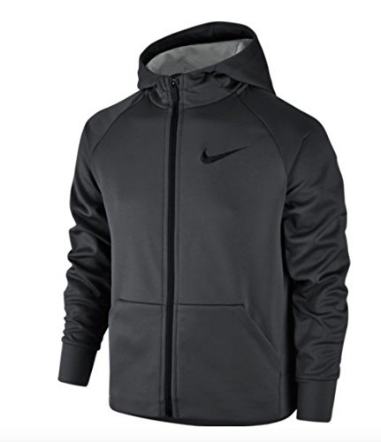 Nike Boys Therma Full-Zip Hoodie (SMALL, Anthracite/Dark Steel Grey)