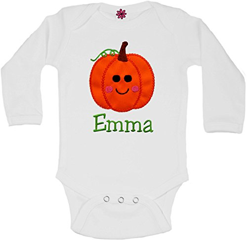 Embroidered Halloween Pumpkin Onesie Bodysuit for Baby Girls - Your Custom Name (6-12 Months, BRIGHT WHITE Onesie LONG Sleeve)