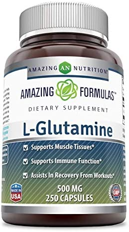 Amazing Formulas – L-Glutamine Dietary Supplement – 500 Milligrams – 250 Capsules Non-GMO,Gluten Free Promotes a Healthy Immune System – Supports Muscular System*