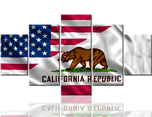(Wall Decorations for Living Room American California State Flags Pictures Stars Stripes Paintings 5 Panel Canvas Wall Art Modern Artwork House Decor Framed Gallery-Wrapped Ready to Hang(60''Wx32''H))