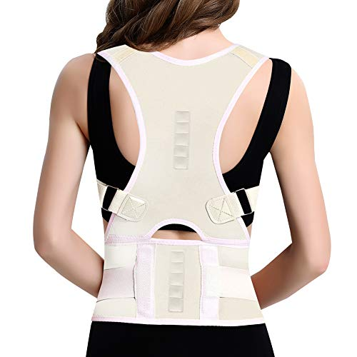 - Posture Corrector Back Brace, Clavicle Shoulder Support Brace for Upper Back Pain Relief, Adjustable Lumbar Support Belt for Lower Back Pain, Improves Humpback Posture Men & Women (White, Large)