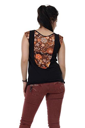 Femme 4xl Chemise Vert Du t Manches D`or D'été De shirt Avec Col Courtes Fleur Ras Cou Brun Top 3elfen Chic aqw5R