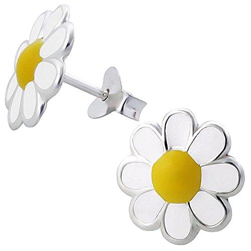 be7222b615cf Outlet So Chic Joyas - Pendientes Niños flor color Esmalte Plata 925 ...